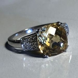 Sterling SIlver 3.50 ct Citrine & White Topaz Ring